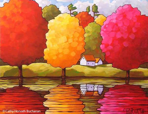 Fall Tree Reflection Art Print Wall Decor, Autumn River Color Folk Art