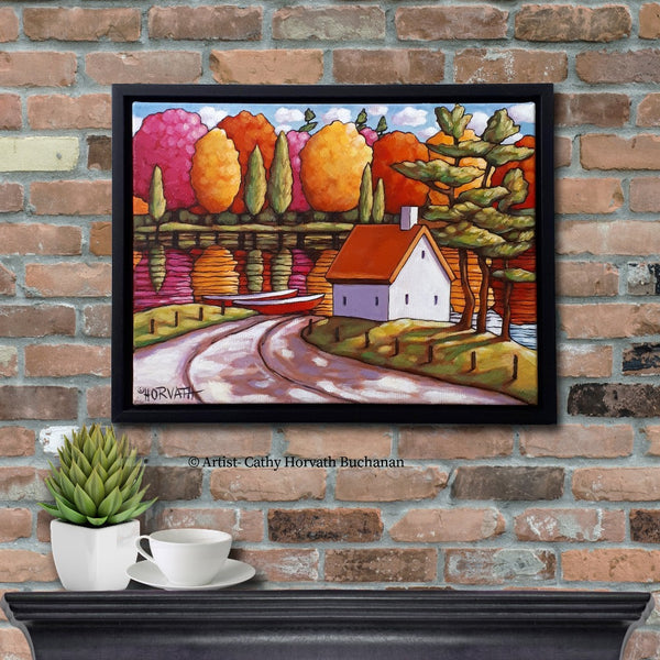River View Colors Framed Original Painting, Cottage Water 12x16