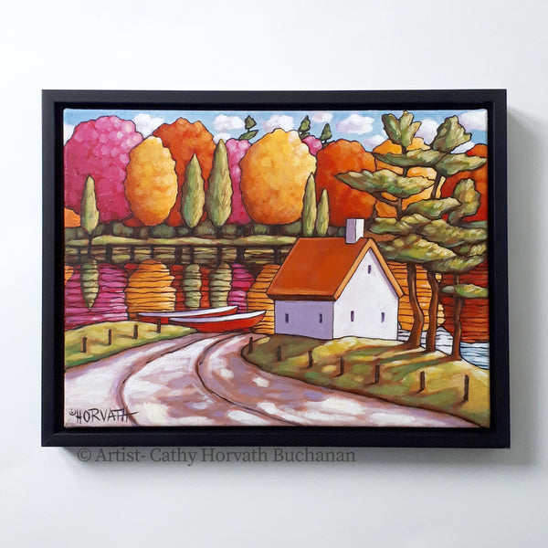 River View Colors Framed Original Painting, Folk Art Cottage Water 12x16
