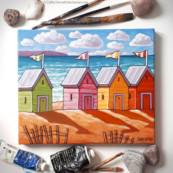 Beach Huts Coastal Framed Original Painting, Seascape 10x12 by artist Cathy Horvath Buchanan