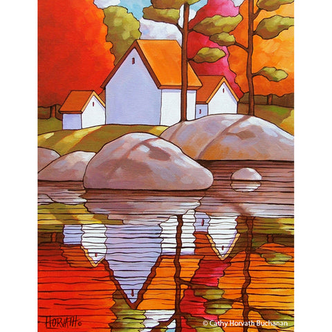 Autumn Rocky Shore Art Print, Fall Tree Waterside Cottages Folk Art Giclee