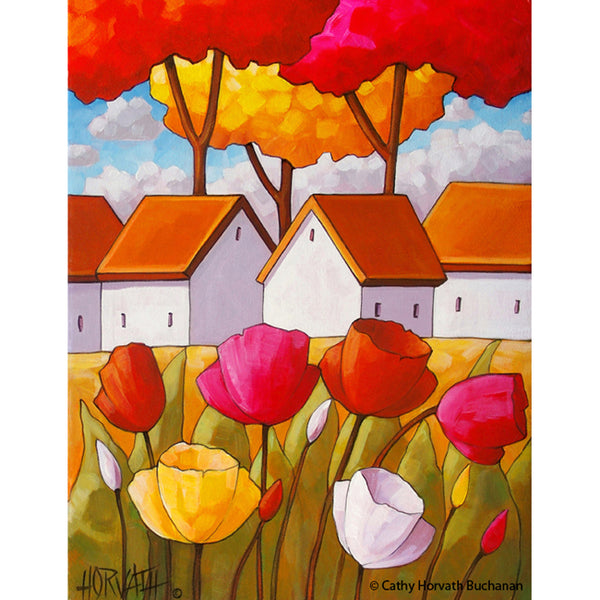 Spring Tulip Flower Cottages, Floral Easter Folk Art Print, Garden Blooms