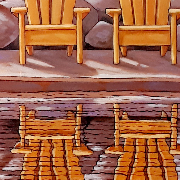 Canoe w Deck Chairs Framed Original Painting, Coastal Seascape 16x20 by artist Cathy Horvath Buchanan