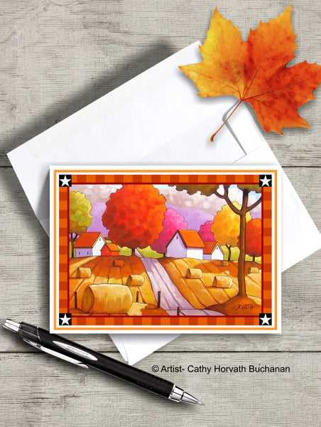 Country Hay Rolls Printable Card kit, PDF Instant Download by Cathy Horvath Buchanan