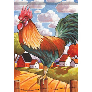 Country Rooster Garden Flag, Outdoor UV Resistant, Double-Sided by Cathy Horvath Buchanan