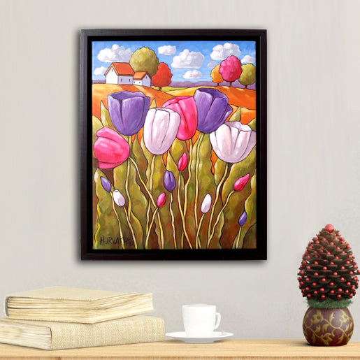 Tulip Framed Original Painting Artwork Spring Flower Folk Art Landscape 11x14