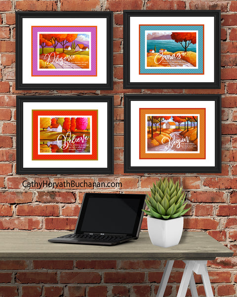 Courage Set of 4 Collection Inspirational Quote Wall Art Printable Download