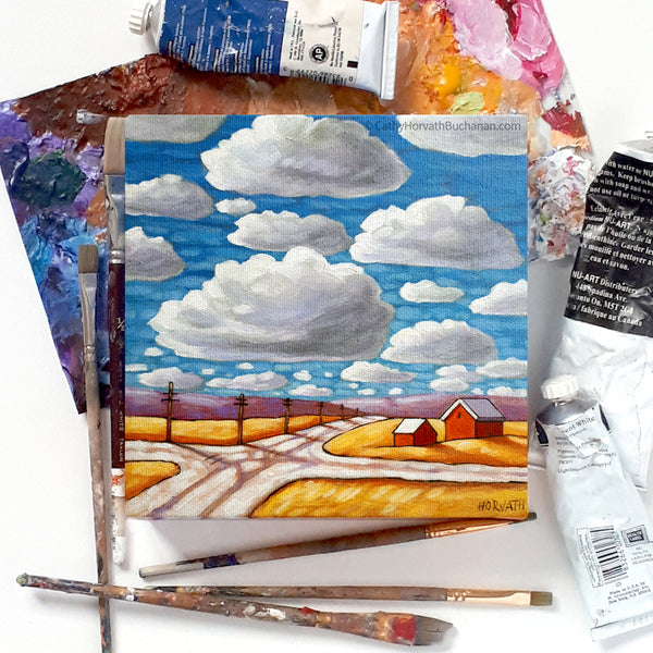 Crossroads Under Blue Sky Clouds - Original Painting by Cathy Horvath Buchanan