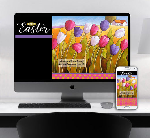 Easter wallpaper for monitors cell phones by artist Cathy Horvath Buchanan