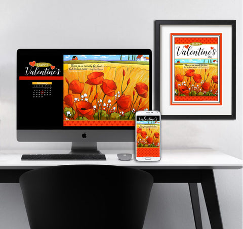 Valentines day poppies devices wallpaper art for your desktop, laptop & phone device. plus printable wall art. Instant digital files  download art bundle