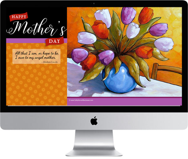 Mothers Day Digital Wallpaper Art for Desktop, Laptop, Phone Devices