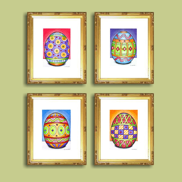 Mini Easter Egg Art Print Set of 4, Decorative Seasonal Spring Decor Artwork, Archival Giclees