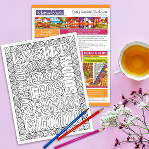 Easter Words Eggs coloring Page Art by Artist Cathy Horvath Buchanan