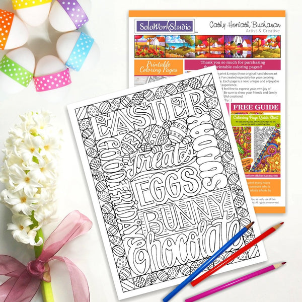 Easter Chocolate Treats Coloring Page, PDF Instant Download Printable by Cathy Horvath Buchanan
