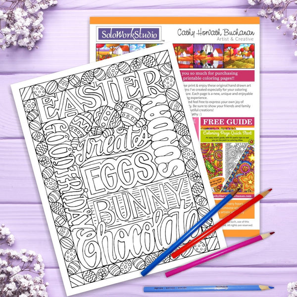 Easter Chocolate Treats Coloring Page, PDF Instant Download Printable