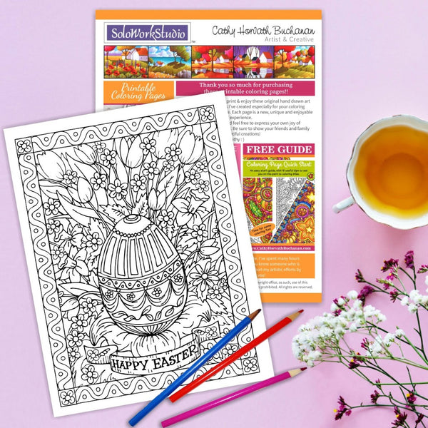 Easter Egg Flower Coloring Page art by Artist Cathy Horvath Buchanan