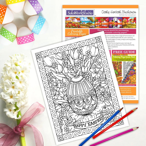Happy Easter Flower Bouquet Coloring Page, PDF Instant Download Printable
