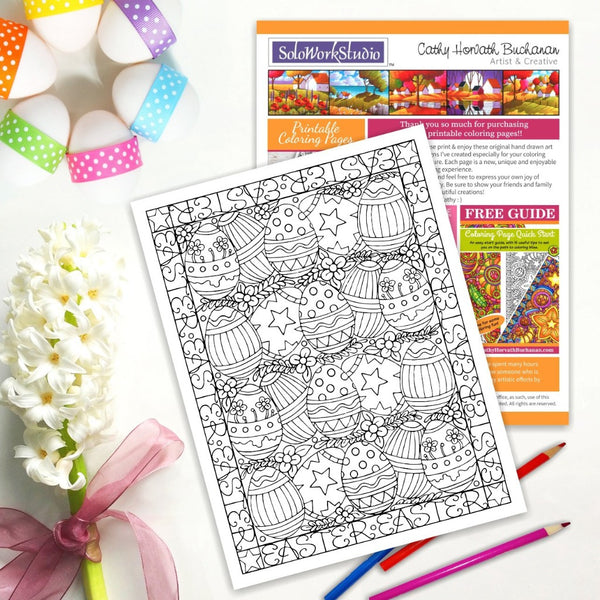 Easter Eggs Flower Rows Coloring Page, PDF Instant Download Printable
