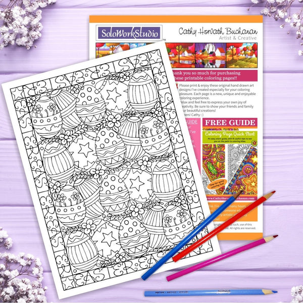 Fancy Easter Egg Coloring Kit, Card + Envelope, PDF Download Printable by Cathy Horvath Buchanan