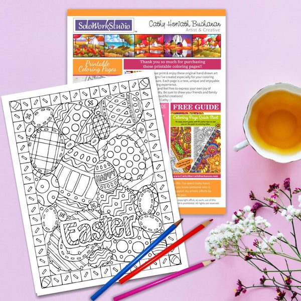 Easter Egg Stitches Coloring Page by Artist Cathy Horvath Buchanan