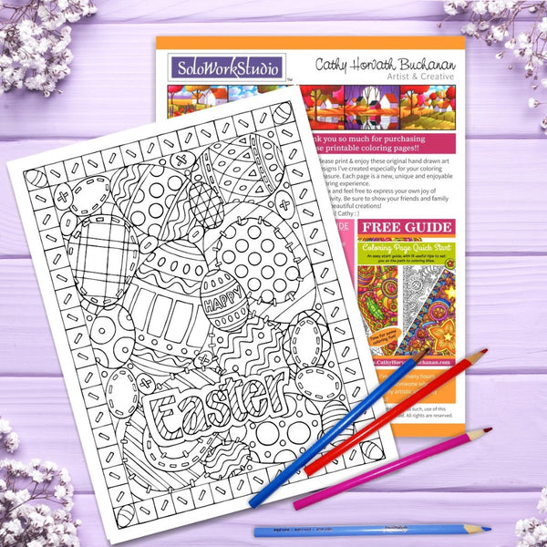 Easter Eggs Stitches Coloring Page, PDF Instant Download Printable