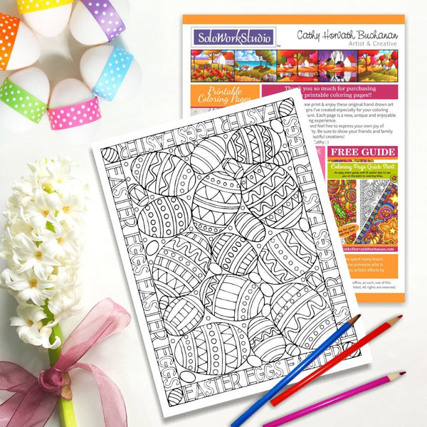 Easter Eggs Coloring Page, PDF Instant Download Printable