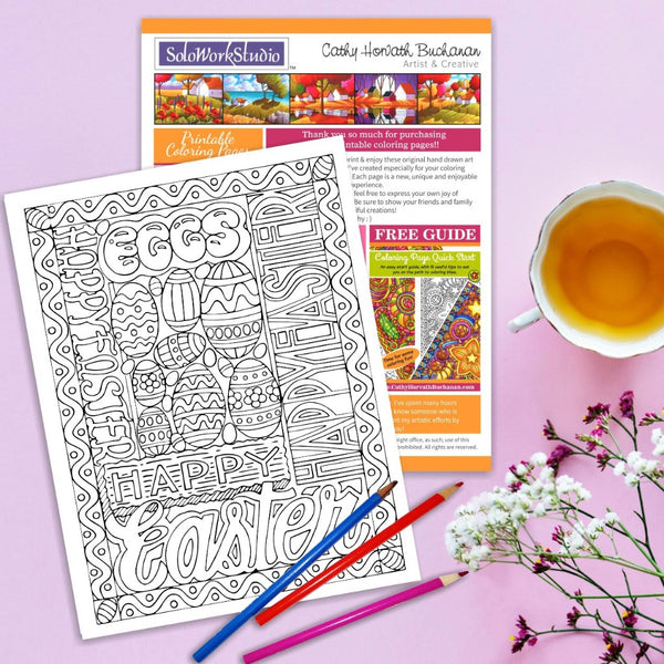 Happy Easter Egg Words Coloring Page, PDF Download Printable by Cathy Horvath Buchanan