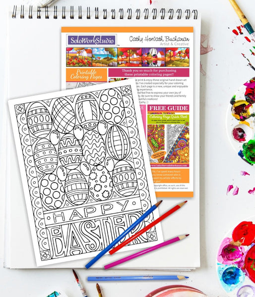 Happy Easter Eggs Jellybeans Coloring Page, PDF Instant Download Printable