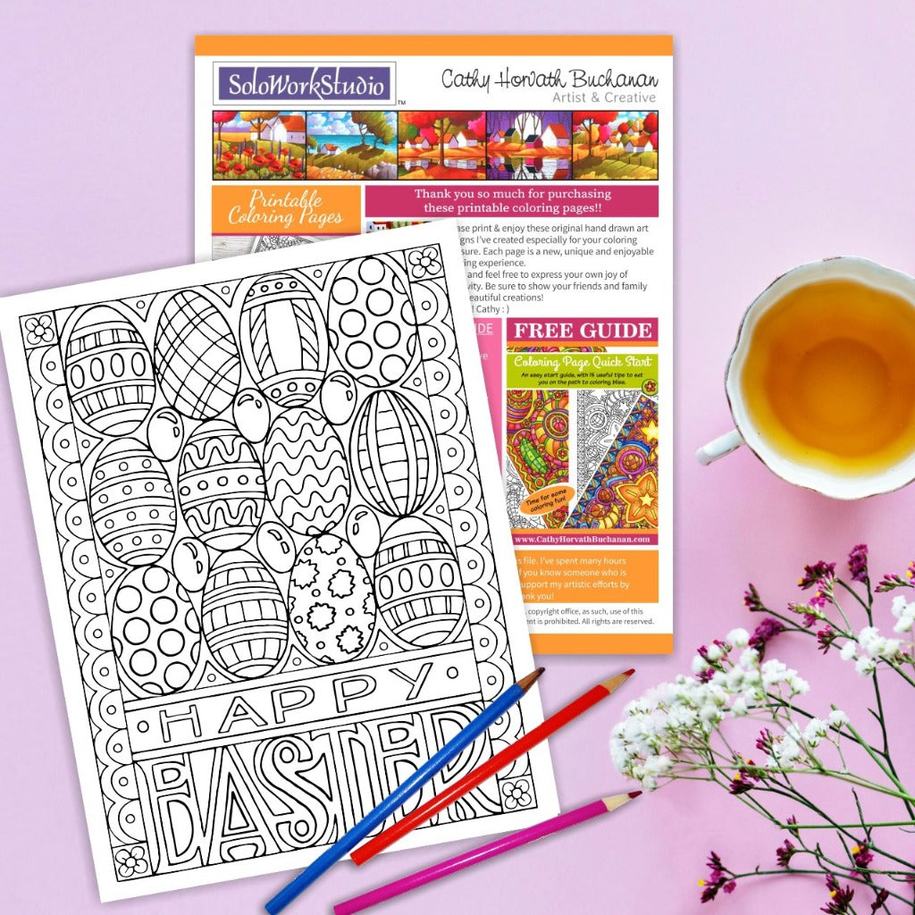 Eggs Jellybeans Happy Easter Coloring Page by Artist Cathy Horvath Buchanan
