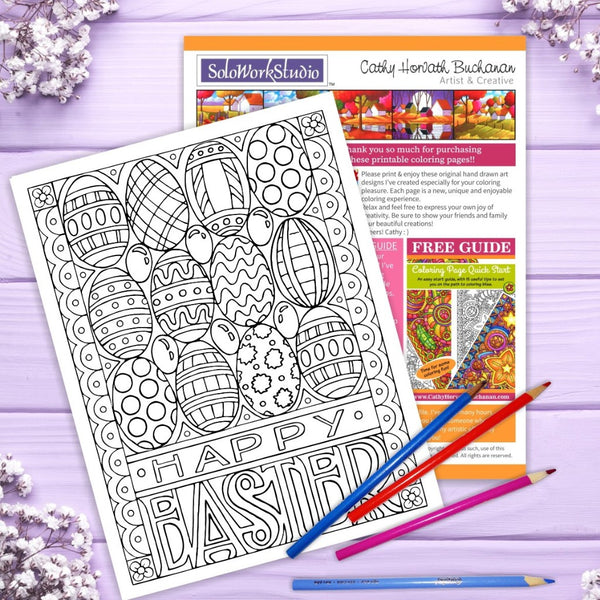 Happy Easter Eggs Jellybeans Coloring Page, PDF Download Printable