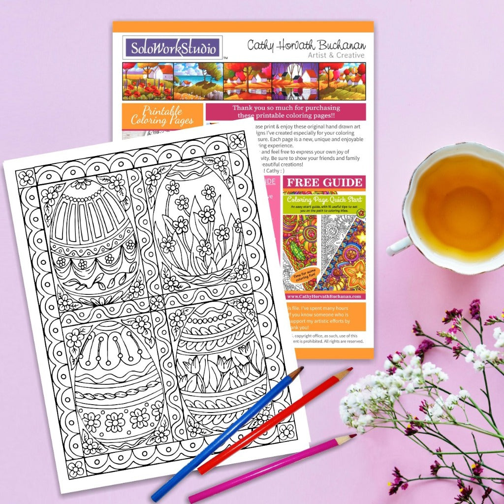 Four Fancy Easter Eggs Coloring Page by Artist Cathy Horvath Buchanan