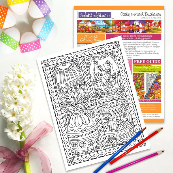 Four Fancy Eggs Coloring Page, PDF Instant Download Printable