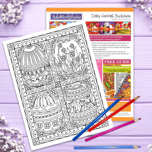 easter coloring 8 page pack by artist Cathy Horvath Buchanan