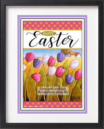 Easter Tulips Printable Wall Art, Spring Decor Digital Download