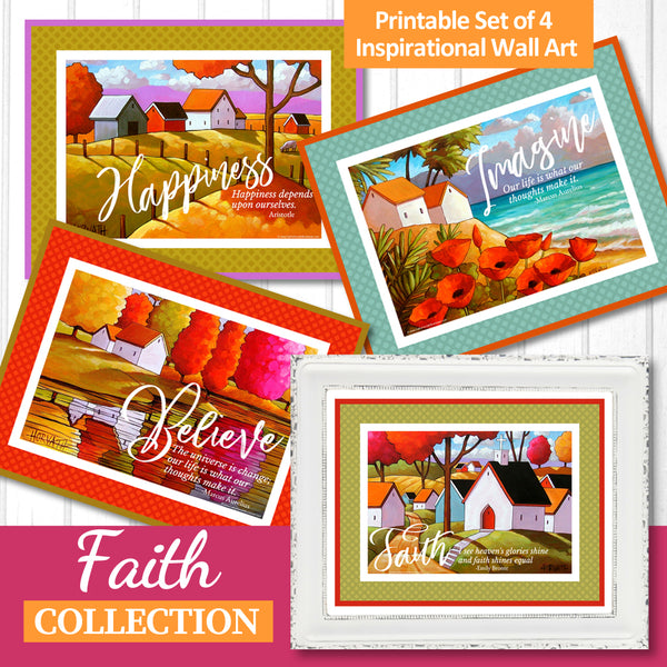 Faith Set of 4 Collection Inspirational Quote Wall Art Printable Download by Cathy Horvath Buchanan