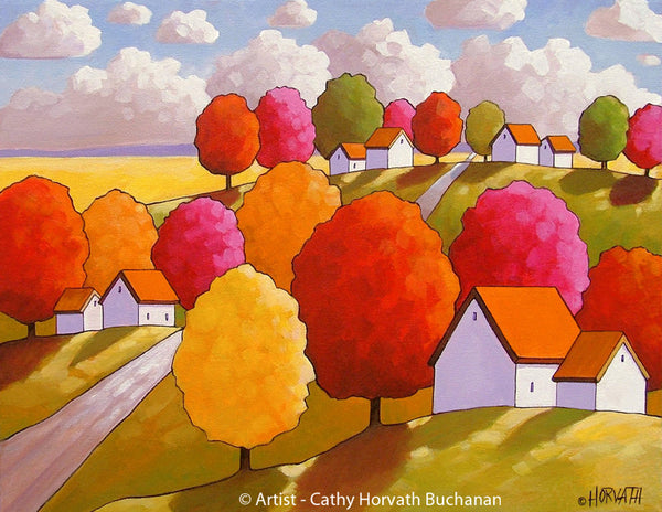 Fall Landscape Hills Road Folk Art Print, Autumn Tree Colors Giclee