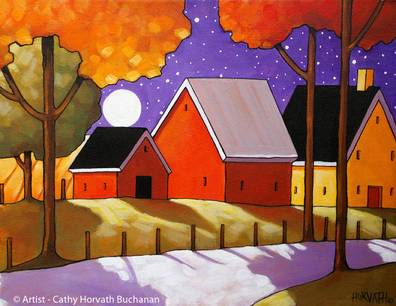 Autumn Farm Roadway Night Moon Folk Art Print, Fall Country Halloween Giclee