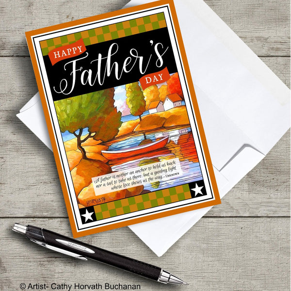Fathers Day Red Canoe - Printable Card Kit