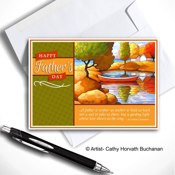 Fathers Day Scenic Red Canoe - Printable Card Kit