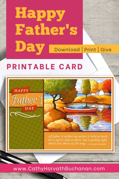 Fathers Day Canoe Scene Printable Card Kit, PDF + JPG Instant Download