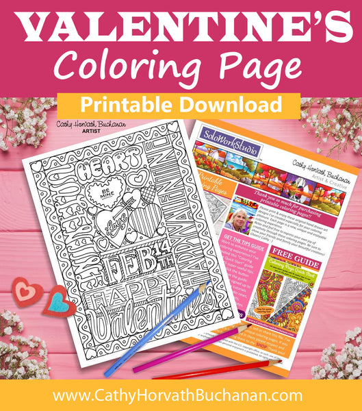 feb 14 valentine coloring page by artist Cathy Horvath Buchanan
