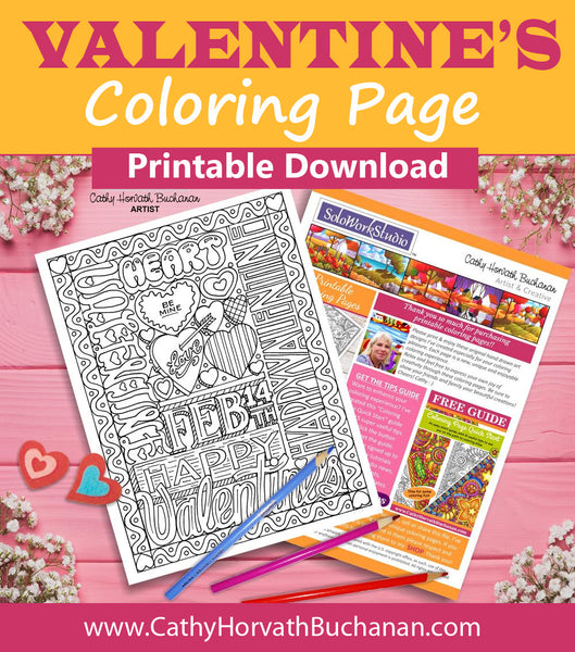Valentine Feb 14th Hearts Coloring Page, PDF Download Printable