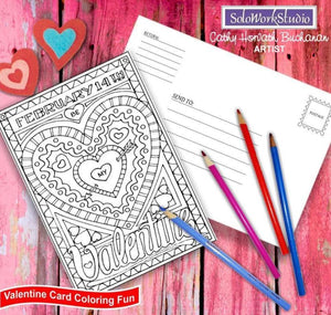 valentine coloring card illustration by cathy horvath buchanan