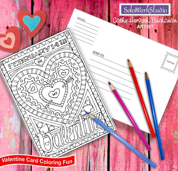 valentine coloring card kit by artist Cathy Horvath Buchanan