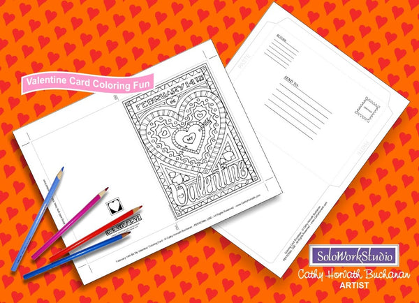 Valentine 4 pack Coloring Card Kit w Envelope, Instant Printable PDF