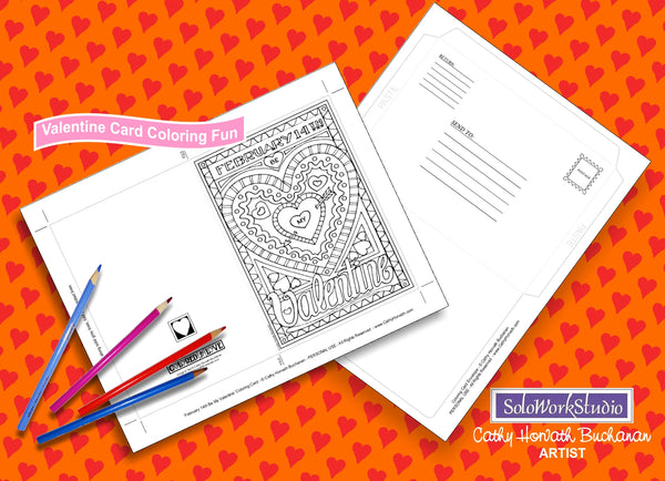 Be My Feb 14th Valentine, Coloring Kit Card + Envelope, - PDF Instant Download