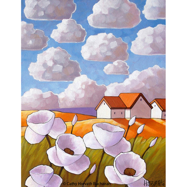 Flower Clouds Folk Art Print, Country Garden Landscape Giclee