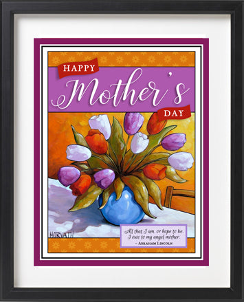 Mothers day tulips printable wall art. Instant digital download