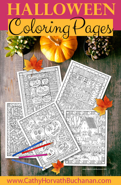 5 halloween coloring page drawings by cathy horvath buchanan