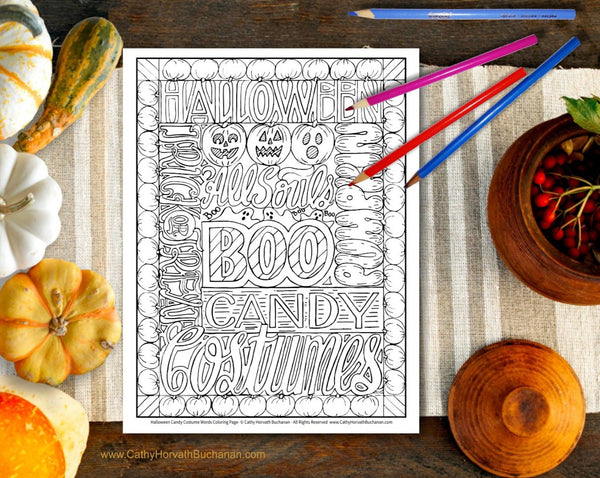 Halloween words coloring page by Cathy Horvath Buchanan